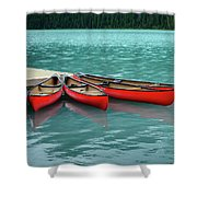 Lake Louise Canoes Shower Curtain