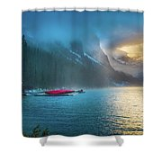 Lake Louise Canoes In The Morning Shower Curtain
