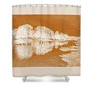 Lake Reflections In Brown Shower Curtain