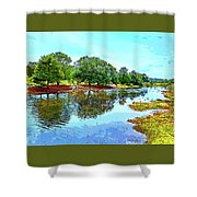 Lake Reflections On A Sunny Day Shower Curtain