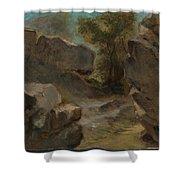 Landscape With Rocks  Augerville  Shower Curtain