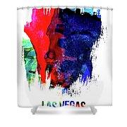 Las Vegas Skyline Brush Stroke Watercolor   Shower Curtain