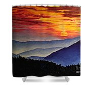 Laurens Sunset And Mountains Shower Curtain