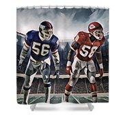 Lawrence Taylor New York Giants And Derrick Thomas Kansas City Chiefs Abstract Art 1 Shower Curtain