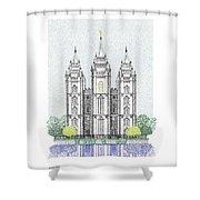 Lds Salt Lake Temple - Colorized Shower Curtain