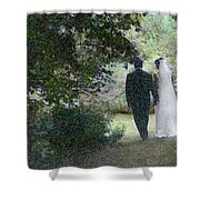 Leaving The Wedding Shower Curtain by Wayne King