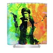 Legendary Han Solo Watercolor Shower Curtain