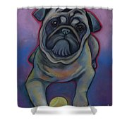 Lets Play Pug  Shower Curtain