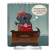 Library Newfie Shower Curtain