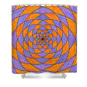 Light Violet On Blue, Yellow On Red Fractal Pattern Shower Curtain