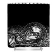 Lightbulb Black And White Shower Curtain