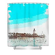 lighthouse 9, watercolor by Adam Asar Shower Curtain