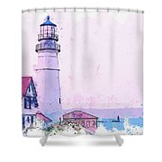 Lighthouse, Cape Elizabeth, United States -  Watercolor By Ahmet Asar Shower Curtain