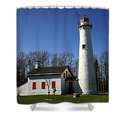 Lighthouse - Sturgeon Point Michigan Shower Curtain