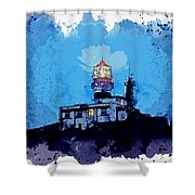 Lighthouse, Watercolor, C2019, By Adam Asar - 19 Shower Curtain