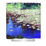 Lilies On Blue Water Shower Curtain