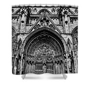 Lincoln Cathedral Side Entrance Monochrome Shower Curtain by Scott Lyons