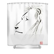 Lion Face With A Deep Wise Gaze Japanese Sumi-e Illustration Shower Curtain
