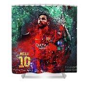 Lionel Messi In Barcelona Kit Shower Curtain
