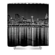 Liverpool Skyline In The Night Black And White Shower Curtain