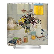 Lizzie At The Table  Shower Curtain