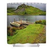 Llyn Y Dywarchen Boats Snowdonia Shower Curtain