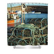lobster pots and trawlers at Dunbar harbour Shower Curtain