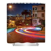 Lombard Street And The Bay Bridge Shower Curtain
