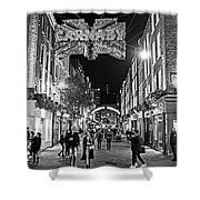 London Nightlife Carnaby Street London Uk United Kingdom Black And White Shower Curtain