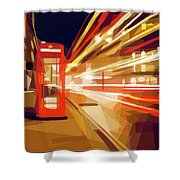 London Phone Box Shower Curtain by ISAW Company