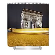 Long Exposure Picture Of Paris Arch De Triomphe At Night   Shower Curtain