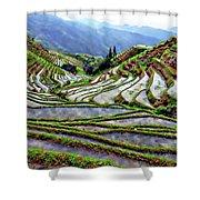 Lonji Rice Terraces Shower Curtain