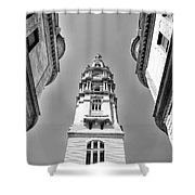 Looking Up - City Hall Court Yard In Black And White Shower Curtain