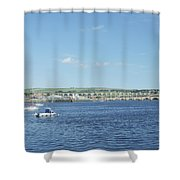 looking up river Tweed at Berwick Shower Curtain