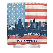 Los Angeles Skyline Flag Shower Curtain
