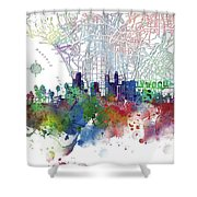 Los Angeles Skyline Map Watercolor 3 Shower Curtain