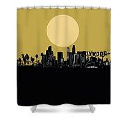 Los Angeles Skyline Minimalism Yellow Shower Curtain
