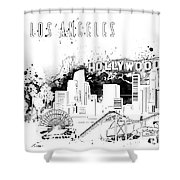 Los Angeles Skyline Panorama White Shower Curtain