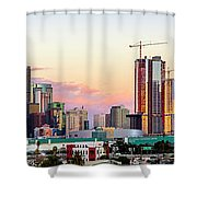 Los Angeles Skyline Sunset - Panorama Shower Curtain