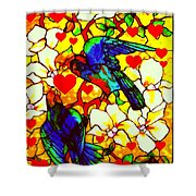 Love Birds In The Love Tree With Hibiscus Shower Curtain