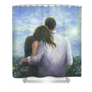 Lovers Looking Forward Brunettes Shower Curtain