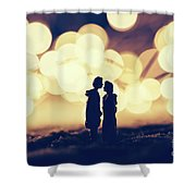 Loving Couple Standing In A Cozy Winter Scenery. Shower Curtain