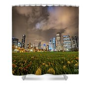 Low Angle Picture Of Downtown Chicago Skyline During Winter Nigh Shower Curtain