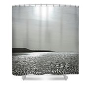 Low Tide Sandy Beach Ripples Silhouetted Against Sun Shower Curtain