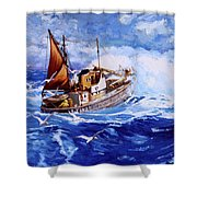 Lowestoft Trawler Shower Curtain