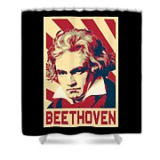 Ludwig Van Beethoven Retro Propaganda Shower Curtain