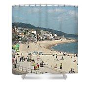 Lyme Regis Beach Shower Curtain