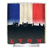 Lyon France City Skyline Flag Shower Curtain
