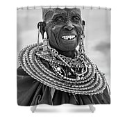 Maasai Woman In Black And White Shower Curtain