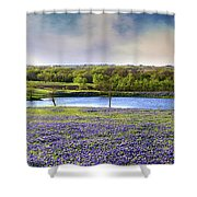 Mach Road Blubonnet Panorama In Evening Light Shower Curtain